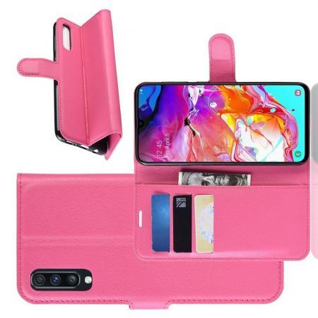 Флип чехол книжка с кошельком подставкой отделениями для карт и магнитной застежкой для Samsung Galaxy A70 Розовый