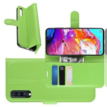 Флип чехол книжка с кошельком подставкой отделениями для карт и магнитной застежкой для Samsung Galaxy A70 Зеленый
