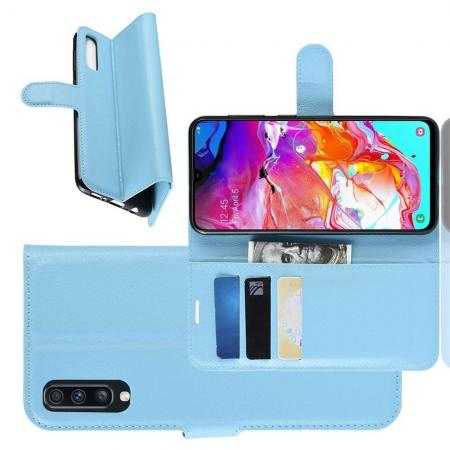 Флип чехол книжка с кошельком подставкой отделениями для карт и магнитной застежкой для Samsung Galaxy A70 Голубой