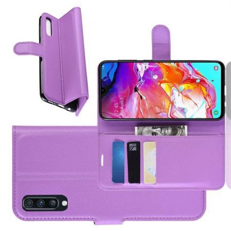 Флип чехол книжка с кошельком подставкой отделениями для карт и магнитной застежкой для Samsung Galaxy A70 Фиолетовый
