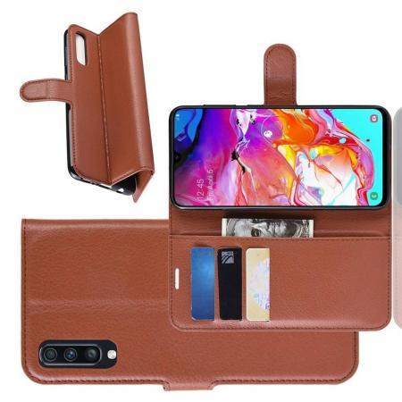 Флип чехол книжка с кошельком подставкой отделениями для карт и магнитной застежкой для Samsung Galaxy A70 Коричневый