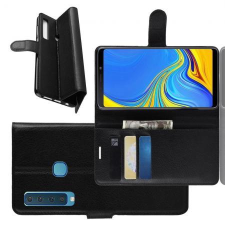 Флип чехол книжка с кошельком подставкой отделениями для карт и магнитной застежкой для Samsung Galaxy A9 2018 SM-A920F Черный