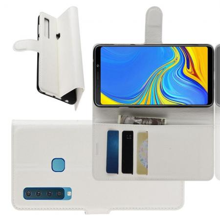 Флип чехол книжка с кошельком подставкой отделениями для карт и магнитной застежкой для Samsung Galaxy A9 2018 SM-A920F Белый