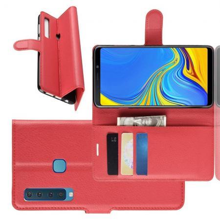 Флип чехол книжка с кошельком подставкой отделениями для карт и магнитной застежкой для Samsung Galaxy A9 2018 SM-A920F Красный