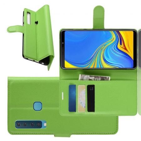 Флип чехол книжка с кошельком подставкой отделениями для карт и магнитной застежкой для Samsung Galaxy A9 2018 SM-A920F Зеленый