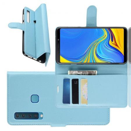 Флип чехол книжка с кошельком подставкой отделениями для карт и магнитной застежкой для Samsung Galaxy A9 2018 SM-A920F Голубой