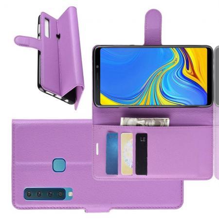Флип чехол книжка с кошельком подставкой отделениями для карт и магнитной застежкой для Samsung Galaxy A9 2018 SM-A920F Фиолетовый