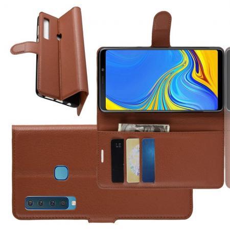 Флип чехол книжка с кошельком подставкой отделениями для карт и магнитной застежкой для Samsung Galaxy A9 2018 SM-A920F Коричневый
