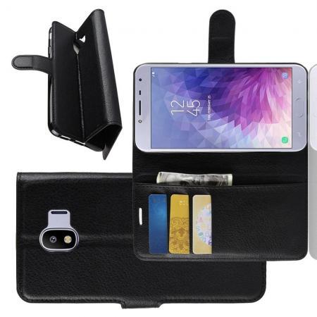 Флип чехол книжка с кошельком подставкой отделениями для карт и магнитной застежкой для Samsung Galaxy J4 2018 SM-J400 Черный