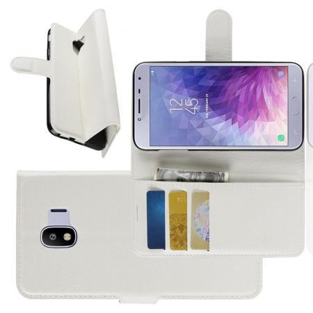 Флип чехол книжка с кошельком подставкой отделениями для карт и магнитной застежкой для Samsung Galaxy J4 2018 SM-J400 Белый