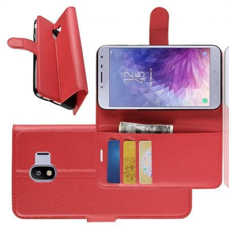 Флип чехол книжка с кошельком подставкой отделениями для карт и магнитной застежкой для Samsung Galaxy J4 2018 SM-J400 Красный