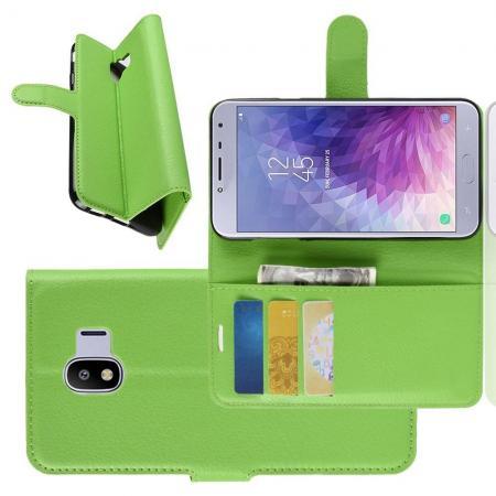 Флип чехол книжка с кошельком подставкой отделениями для карт и магнитной застежкой для Samsung Galaxy J4 2018 SM-J400 Зеленый