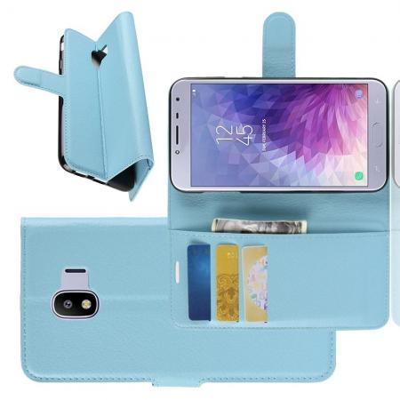 Флип чехол книжка с кошельком подставкой отделениями для карт и магнитной застежкой для Samsung Galaxy J4 2018 SM-J400 Голубой