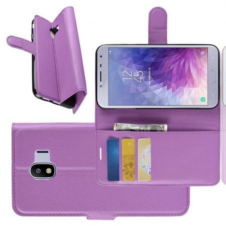Флип чехол книжка с кошельком подставкой отделениями для карт и магнитной застежкой для Samsung Galaxy J4 2018 SM-J400 Фиолетовый