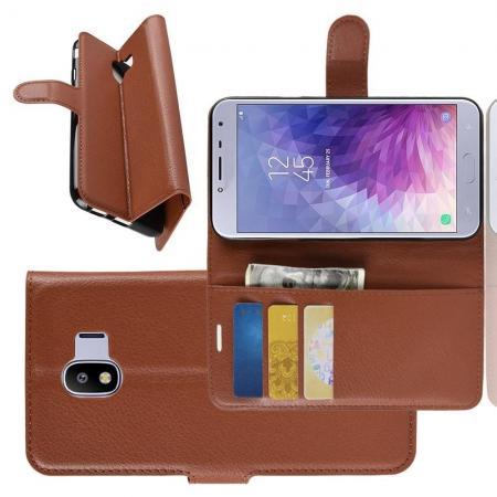 Флип чехол книжка с кошельком подставкой отделениями для карт и магнитной застежкой для Samsung Galaxy J4 2018 SM-J400 Коричневый