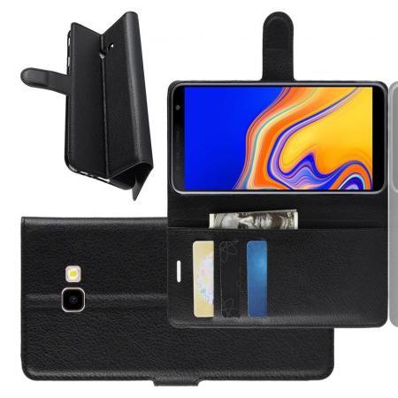 Флип чехол книжка с кошельком подставкой отделениями для карт и магнитной застежкой для Samsung Galaxy J4 Plus SM-J415 Черный