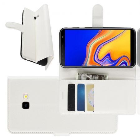 Флип чехол книжка с кошельком подставкой отделениями для карт и магнитной застежкой для Samsung Galaxy J4 Plus SM-J415 Белый