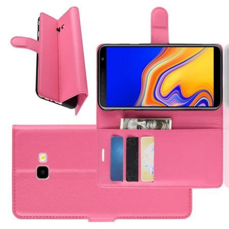 Флип чехол книжка с кошельком подставкой отделениями для карт и магнитной застежкой для Samsung Galaxy J4 Plus SM-J415 Розовый