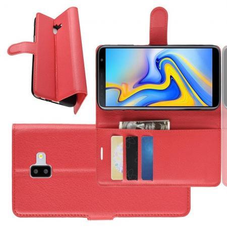 Флип чехол книжка с кошельком подставкой отделениями для карт и магнитной застежкой для Samsung Galaxy J6 Plus 2018 SM-J610F Красный