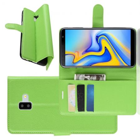 Флип чехол книжка с кошельком подставкой отделениями для карт и магнитной застежкой для Samsung Galaxy J6 Plus 2018 SM-J610F Зеленый
