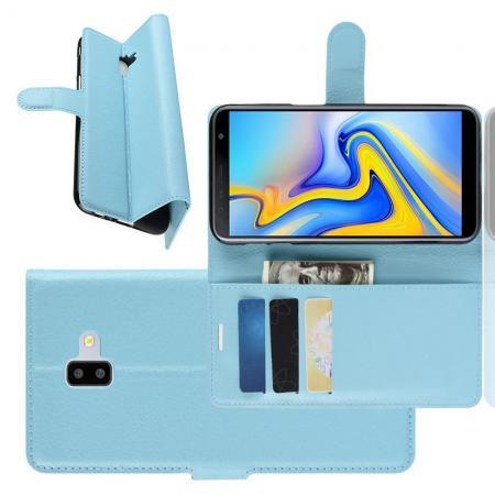 Флип чехол книжка с кошельком подставкой отделениями для карт и магнитной застежкой для Samsung Galaxy J6 Plus 2018 SM-J610F Голубой