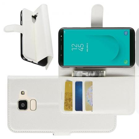Флип чехол книжка с кошельком подставкой отделениями для карт и магнитной застежкой для Samsung Galaxy J6 SM-J600 Белый