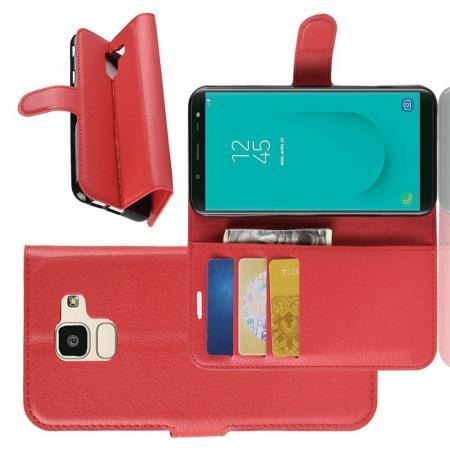 Флип чехол книжка с кошельком подставкой отделениями для карт и магнитной застежкой для Samsung Galaxy J6 SM-J600 Красный