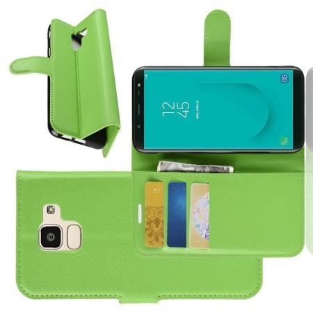 Флип чехол книжка с кошельком подставкой отделениями для карт и магнитной застежкой для Samsung Galaxy J6 SM-J600 Зеленый