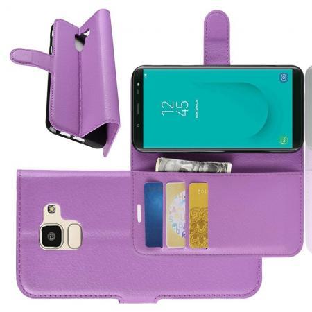Флип чехол книжка с кошельком подставкой отделениями для карт и магнитной застежкой для Samsung Galaxy J6 SM-J600 Фиолетовый