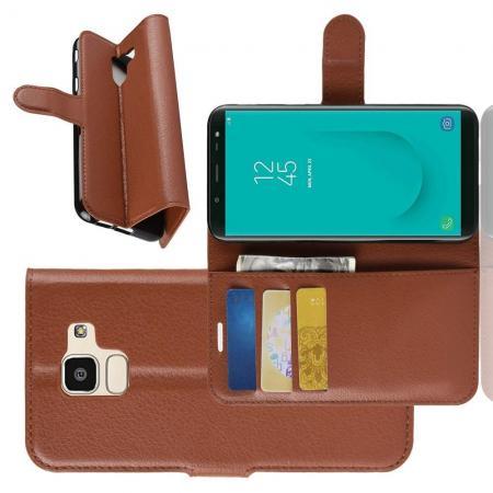 Флип чехол книжка с кошельком подставкой отделениями для карт и магнитной застежкой для Samsung Galaxy J6 SM-J600 Коричневый