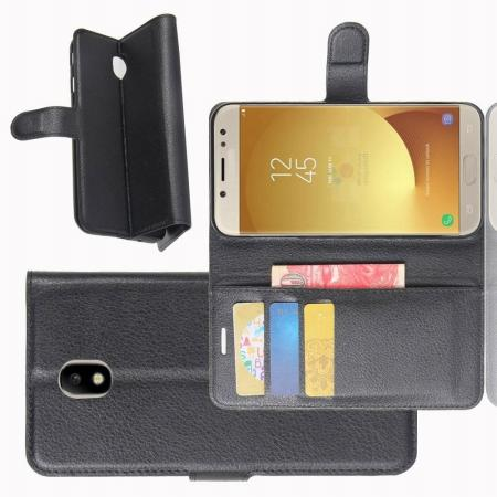Флип чехол книжка с кошельком подставкой отделениями для карт и магнитной застежкой для Samsung Galaxy J7 2018 Черный