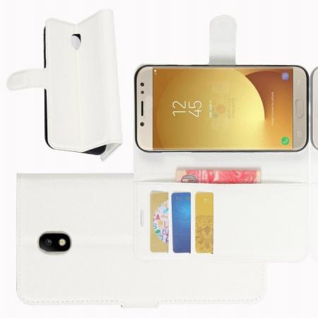 Флип чехол книжка с кошельком подставкой отделениями для карт и магнитной застежкой для Samsung Galaxy J7 2018 Белый