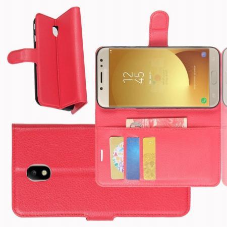 Флип чехол книжка с кошельком подставкой отделениями для карт и магнитной застежкой для Samsung Galaxy J7 2018 Красный