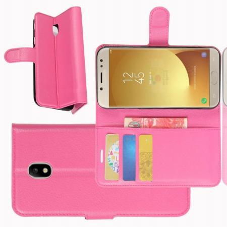 Флип чехол книжка с кошельком подставкой отделениями для карт и магнитной застежкой для Samsung Galaxy J7 2018 Розовый