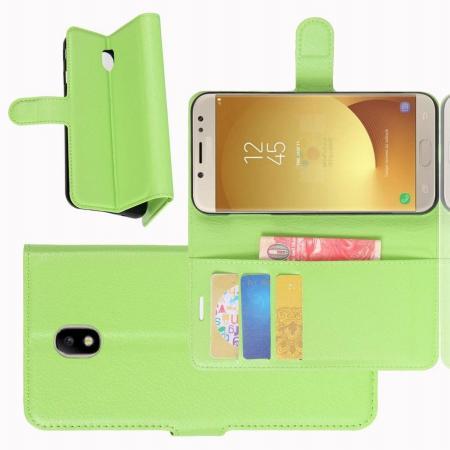 Флип чехол книжка с кошельком подставкой отделениями для карт и магнитной застежкой для Samsung Galaxy J7 2018 Зеленый