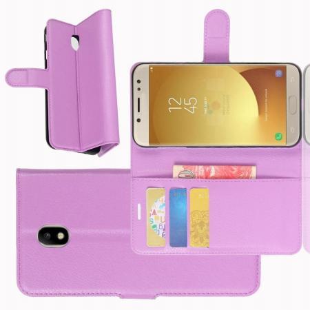 Флип чехол книжка с кошельком подставкой отделениями для карт и магнитной застежкой для Samsung Galaxy J7 2018 Фиолетовый