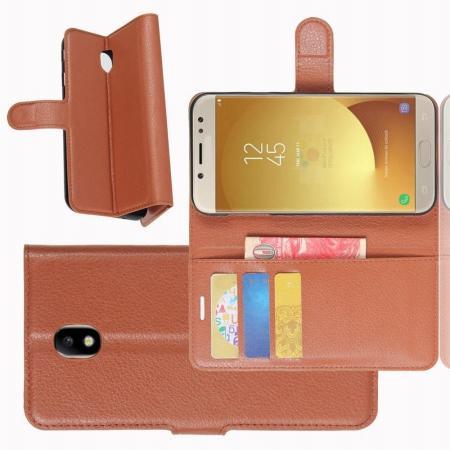 Флип чехол книжка с кошельком подставкой отделениями для карт и магнитной застежкой для Samsung Galaxy J7 2018 Коричневый