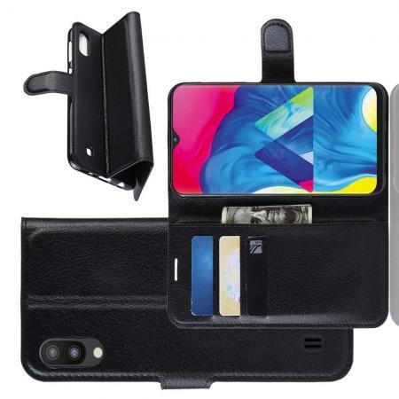 Флип чехол книжка с кошельком подставкой отделениями для карт и магнитной застежкой для Samsung Galaxy M10 Черный