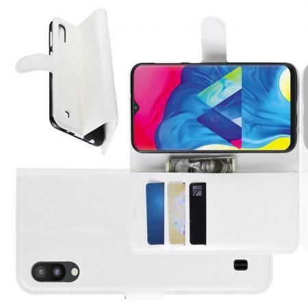 Флип чехол книжка с кошельком подставкой отделениями для карт и магнитной застежкой для Samsung Galaxy M10 Белый