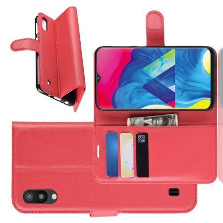Флип чехол книжка с кошельком подставкой отделениями для карт и магнитной застежкой для Samsung Galaxy M10 Красный