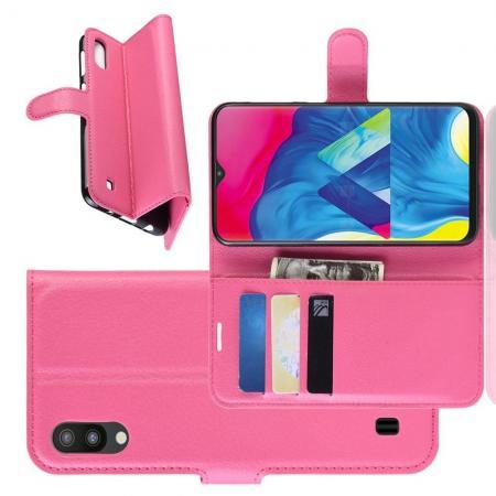 Флип чехол книжка с кошельком подставкой отделениями для карт и магнитной застежкой для Samsung Galaxy M10 Розовый