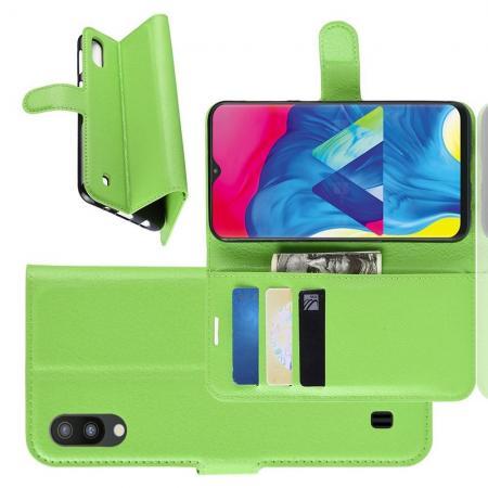 Флип чехол книжка с кошельком подставкой отделениями для карт и магнитной застежкой для Samsung Galaxy M10 Зеленый