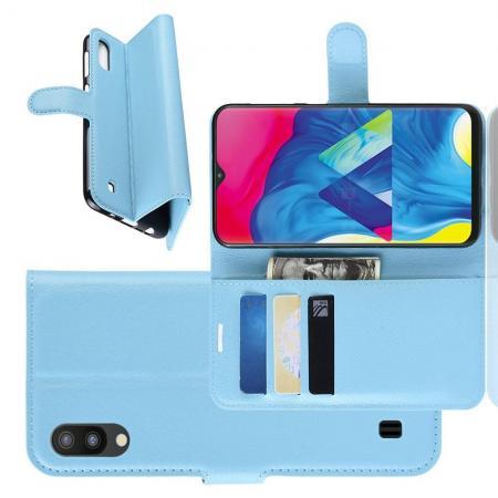 Флип чехол книжка с кошельком подставкой отделениями для карт и магнитной застежкой для Samsung Galaxy M10 Голубой