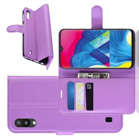 Флип чехол книжка с кошельком подставкой отделениями для карт и магнитной застежкой для Samsung Galaxy M10 Фиолетовый