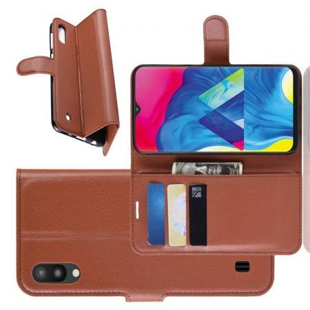 Флип чехол книжка с кошельком подставкой отделениями для карт и магнитной застежкой для Samsung Galaxy M10 Коричневый