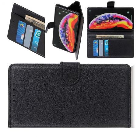 Флип чехол книжка с кошельком подставкой отделениями для карт и магнитной застежкой для Samsung Galaxy M20 Черный