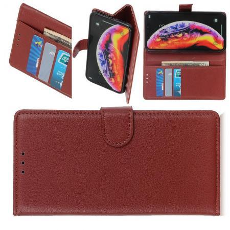 Флип чехол книжка с кошельком подставкой отделениями для карт и магнитной застежкой для Samsung Galaxy M20 Коричневый