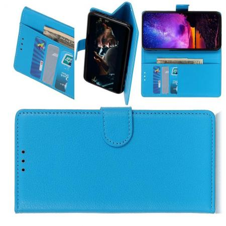 Флип чехол книжка с кошельком подставкой отделениями для карт и магнитной застежкой для Samsung Galaxy M30 Голубой