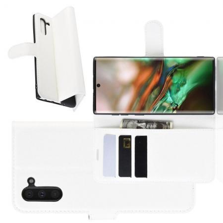 Флип чехол книжка с кошельком подставкой отделениями для карт и магнитной застежкой для Samsung Galaxy Note 10 Белый