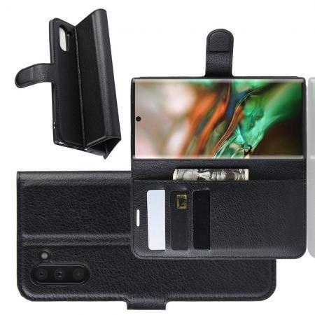 Флип чехол книжка с кошельком подставкой отделениями для карт и магнитной застежкой для Samsung Galaxy Note 10 Черный
